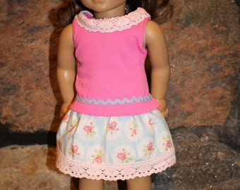 18 inch doll clothes - pink and flowered outfit - top and skirt