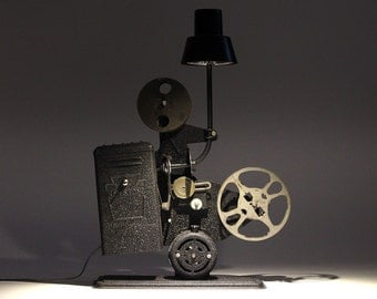 Vintage 1930's Keystone 16mm Movie Projector LED Desk Lamp – Home Lighting Office/Theater Display & Collector Piece