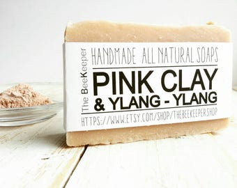Pink Clay, Organic Soap, Pink Clay Soap, Cold Process Soap, Ylang Ylang Soap, Sensitive Skin Soap, Essential Oil Soap, Vegan Soap