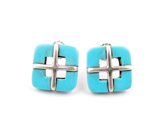 Abstract Square Sterling Silver & Turquoise Earrings
