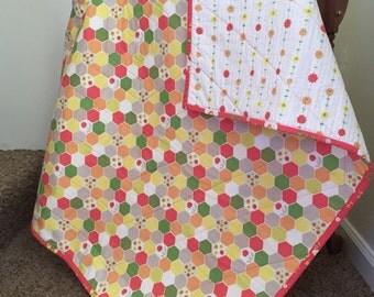 SALE -Toddler Quilt, floral quilt, Baby Girl Quilt, Baby Shower Gift, Lap Quilt, handmade quilt, modern baby blanket, nursery decor,stroller