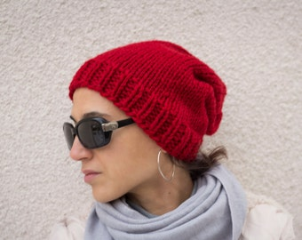 Women winter red hat wool hat  hand knit, Ready to ship
