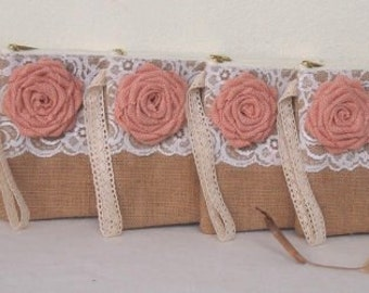 5  PERSONALIZED bridesmaid clutches/Bridesmaid Gift  Burlap clutch/ wristletBridesmaids clutch  wristlet / bridesmaid gift