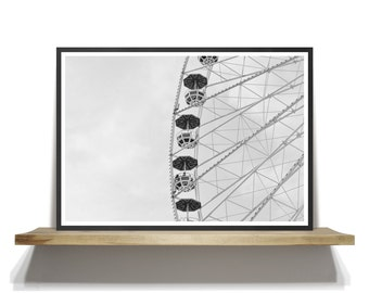 Black and White Ferris Wheel Photography, Modern Art Prints, Black and White Wall Art, Ferris Wheel Print