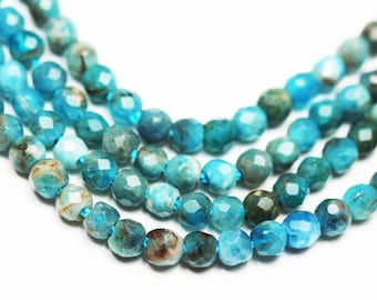 Apatite,3mm  Faceted Round Gemstone, One full strand , Blue color,16 inch  -GEM1129