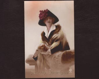 Woman with windhound, French photo postcard - Hand tinted, dog, art deco hat, fashion, lady, antique vintage greeting card - ca 1925 (V5-69)