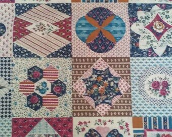 Patchwork Quilt Purples Fabric Panel 36 x 44