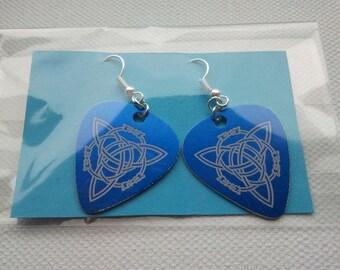 Blue Celtic Plectrum Earrings