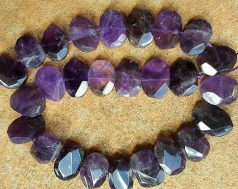 "Natural Amethyst Faceted Oval Beads, 16~21 x 10~17 x 6~8mm - 15.5"" Strand"