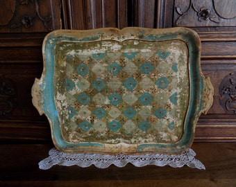 Shabby chic, stunning vintage Italian, Florentine tray, in balsa wood with ornate painted design.