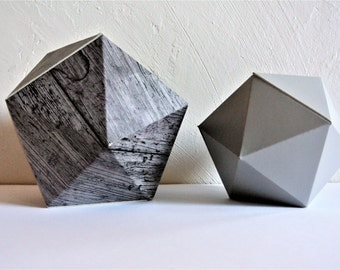 Origami boxes grey wood