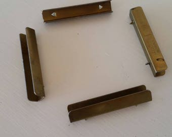 "4 Available! Brass Drawer Divider Brackets J.G. Edele Baltimore Replacement Hardware French Provincial Dresser Clamp 2.25""long"