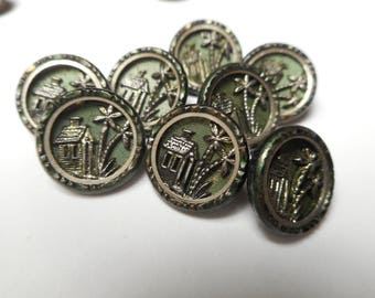 Antique Matching Brass Picture Buttons Lot of 8 Green Tinted Building & Tree Victorian Buttons 9/16""