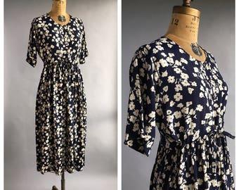 1990's Cherry Blossom Print Midi Dress