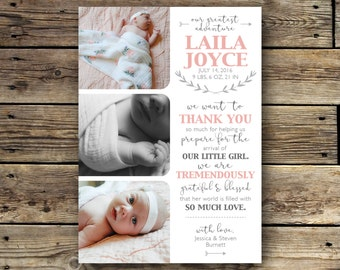 Printable Birth Announcement - Thank You - Pink and Grey
