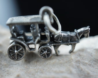 Vintage Jewelry  Victorian pendant 925 sterling silver Horse  coach  Carriage   minimalist Modernist Graceful charm for bracelet chain  v012