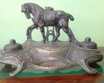 Vintage Bronze/Brass Prancing Horse Double Inkwell and Letter/Pen Holder