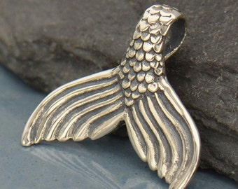 Sterling Silver Mermaid Tail Pendant. Mermaid Charm.