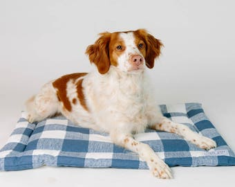 Large Mat for Dog - Check Dog Mat - Dog Bed for Travel - Monogram Available