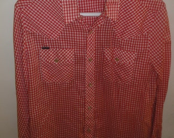 Vintage Stir-Ups Brand Red and White Gingham Western Shirt