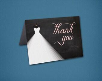 Princess Ballgown Bridal Shower Thank You Cards • Chalkboard Shower Thank Yous • Bridal Shower Thanks • Unique Thank You Card • Ballgown