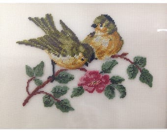 Vintage Small Framed Needlepoint Birds Canary Finch Stitchery