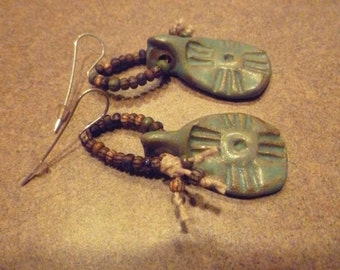 New, Handmade, Southwest Beaded Tribal Earrings with Czech Glass Seed Beads, and Stoneware Pottery Pendants