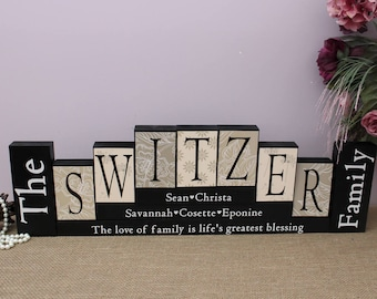 Family Christmas Gift, Family Name Blocks, Anniversary Gift, Last Name Wood Blocks, Housewarming Gift, Unique Gift Idea, 7 Letters Name Sign