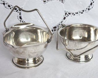 Two Vintage Silver Plate Sugar Bowls ~ High Tea Wedding Rustic Silverplate ~ Price for the pair