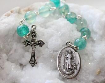 Ships Free--St. Raphael the Archangel Catholic Rosary Chaplet with Agate--Patron Saint Catholic Pocket Rosary--Handmade Catholic Custom