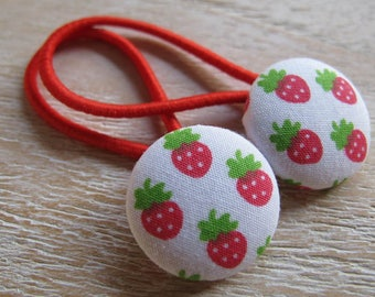 Fabric Covered Button Hair Elastic – Strawberry (Set of 2)