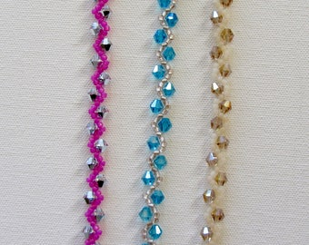 Handmade Crystal Bracelet - 3 colours - Lightchrome (silver/crystal) - Turquoise - Champagne - prom - wedding - party - daywear - bridesmaid