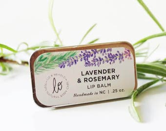 Lavender & Rosemary| Lip Balm | All Natural Lip Balm | Handmade | Natural Skincare | Lavender| Gifts for Her| Lip Balm Tin, .25 Fl. Oz
