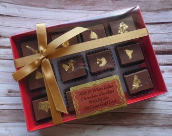 12 White & Milk Chocolate Gianduja Slices with Gold Leaf - Personalised Gift Box for Valentines/Birthday/Gift