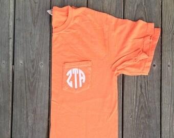 Zeta Tau Alpha Comfort Colors Pocket Tee, Big Little Pocket Tee, Comfort Colors Shirt, Monogram Pocket Tee, Sorority Monogram, Zeta Shirt