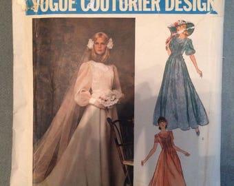 Belinda Bellville Vogue Couturier Design 1155 Wedding Dress Pattern Sz 10 S  4 6 Puff Sleeve Train