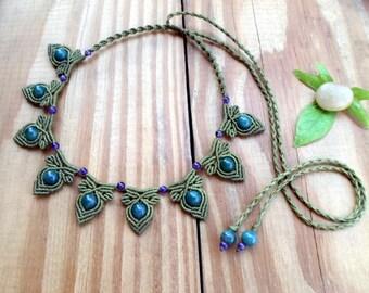 Moss agate macrame necklace, macrame jewelry, moss agate jewelry, macrame choker, micro macrame, beaded necklace, healing jewelry