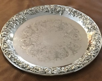 "Silverplate 14"" Serving Tray Sheridan Taunton Silversmiths LTD Vintage"