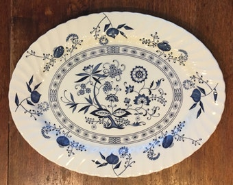 """Johnson Brothers Blue and White Nordic Pattern 15 3/4"""" Platter"""