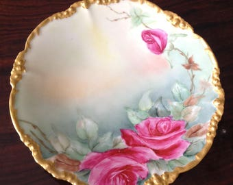 Jean Pouyat Roses Antique French Plate