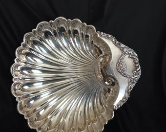 Crescent Clam Shell Silver PLate Crescent Large Serving Bowl