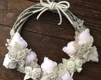 Hanging out with pink broderie anglaise flowers wreath