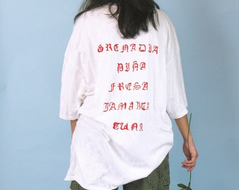 Aguas Frescas Tee / Red Design on Back of White Baseball Style Tee / X-Large / Hand Made