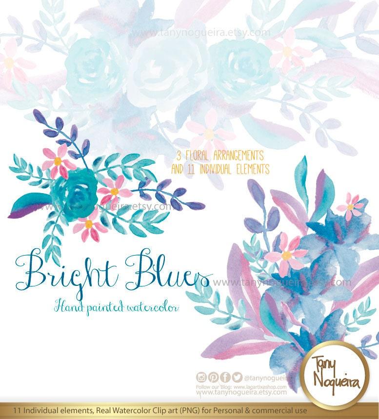 Bright Blues Flores Azules Clipart acuarela png Orillas