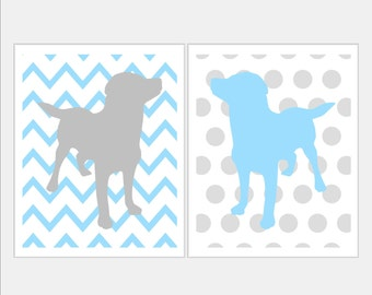 Grey and Blue Nursery Puppy Nursery Art - Labrador Puppy Dog Nursery Art Duo Chevron Zig Zag Polka Dot Stripe Prints. Pick Size SP2061