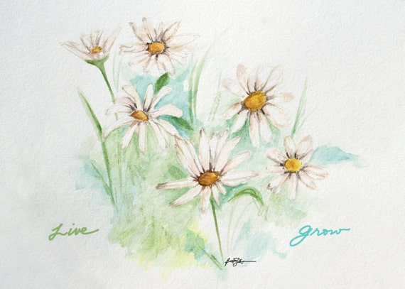 Daisies Mixed Media Watercolor Painting Boho Lifestyle Art Print