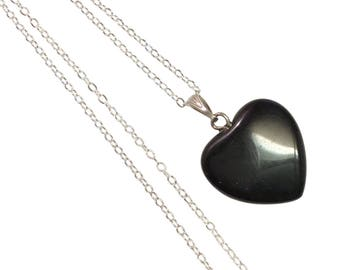 "CLEARANCE ~ Black Obsidian Heart Shaped Pendant on a 18"" Sterling Silver Chain Necklace ~ REIKI CHARGED"