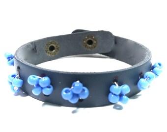 Boho Bracelets,Gypsy Bracelets,Leather Bracelets,Beaded,Gifts for her,Gifts for him,Gifts for Teens,Holiday Gifts,Bohemian jewelry,Blue
