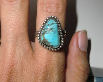 Sterling Ring with turquoise true vintage ethnic 925 sterling silver Indian jewelry handmade