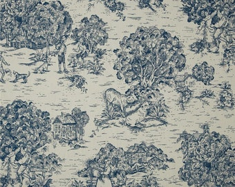 Quaker Ocean Pastoral Cotton Toile, Fabric By The Yard